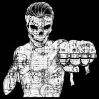 lutador de caveira grunge vetor