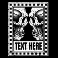 Grunge Skulls Face to Face in Text Frame