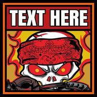 Skull Wearing Bandana on Fire vector