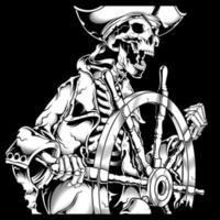 Pirate skeleton at helm hand drawing  vector