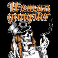 Skeleton Woman Wearing Hat and Smoking Cigar