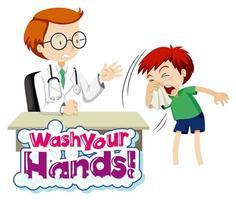 lavez-vous le texte des mains avec un garçon malade et un médecin vecteur