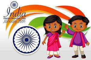 india gelukkige republiek dag poster met gelukkige kinderen