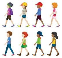 adolescentes sin rostro caminando vector
