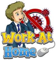 Work at Home Design with Man on Phone vector