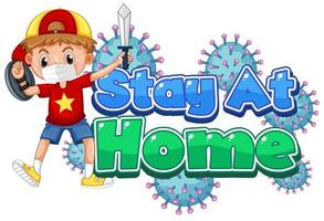 Boy with Sword and Shield Stay at Home Poster