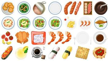 Set of Food Items on White vector