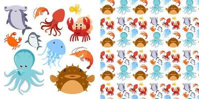 conjunto de criaturas do mar e padrão sem emenda