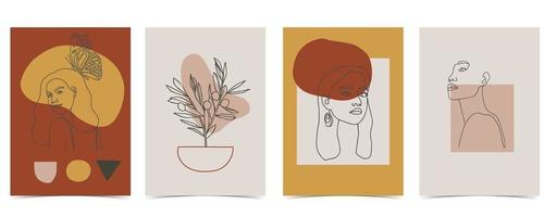 Line style retro colored woman poster set vector