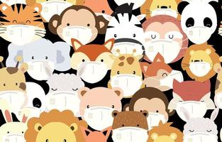 Cute masked animal head pattern vector