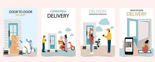 Online delivery during Coronavirus poster set vector