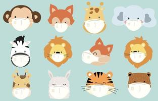 Masked animal head collection vector