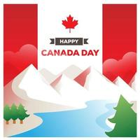 Canada day design with mountain scene
