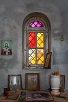 interieur van verlaten kerk, Griekenland
