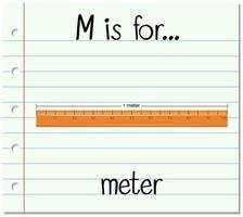 flashcard letter m is voor meter vector