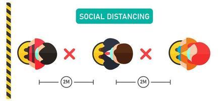 vista superior de personas socialmente distanciadas vector