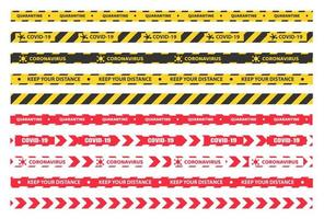cinta de cuarentena de plástico amarilla, negra y roja vector