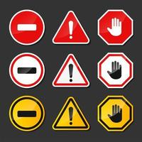 Red, Black, Yellow Warning Signs vector