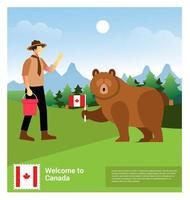 Forest guard with Grizzly bear vector