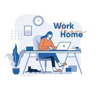 Girl working at home