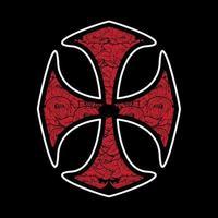 Rosenkreuz-ähnliches Kreuz mit Rosenmuster vektor