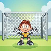 Goal keeper kid ready at soccer goal vector