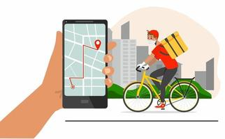 Bicycle courier delivering package vector