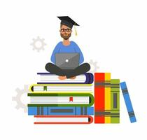 Online education with man sitting on books