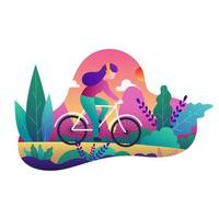 Girl on bicycle with headphones in colorful landscape vector