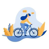 Woman wearing headphones riding bicycle vector