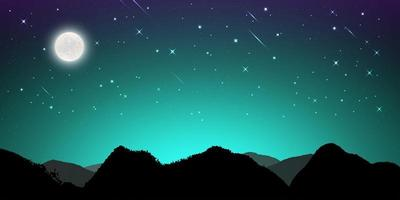Night landscape with silhouettes of mountains and sky