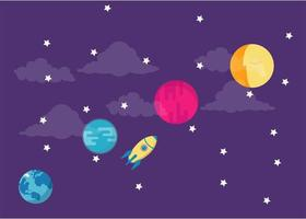 Colorful night sky with rocket and planets vector
