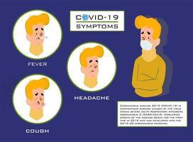 symptômes de covid-19 avec un homme au masque vecteur