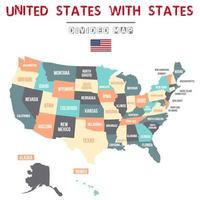 Colorful USA Map with State Names vector