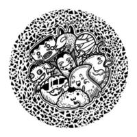 Cute funny monsters in circle shape pattern