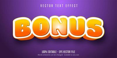 Bonus glossy orange gradient game style text effect vector