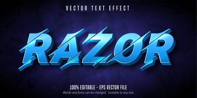 Razor lit blue sliced style text effect vector