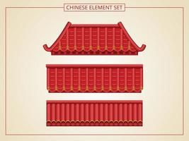 Chinese red roof set vector