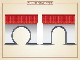 Chinese archway with red roof set vector
