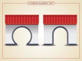 arco chino con techo rojo vector