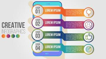 Smartphone application infographic with gradient banners