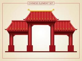 Chinese entrance with red roof vector