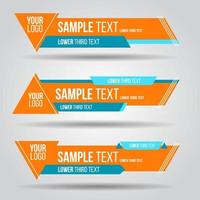 Lower third orange and blue triangle tv banners vector