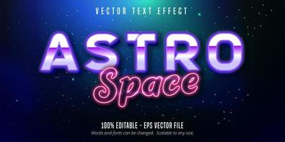 Astro space purple and pink neon style text effect vector