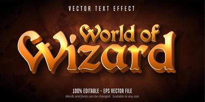 World of wizard orange gradient old style text effect vector