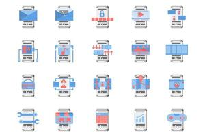 Smartphone application flat icon set