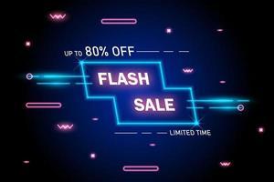 banner de néon brilhante de promoção de venda flash