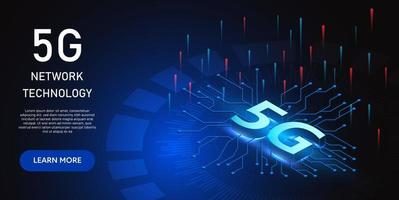 Isometric glowing blue 5g network technology design