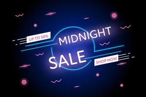 Midnight sale neon promotion banner vector