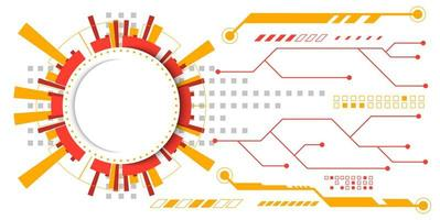 Orange and yellow abstract circuit technology design vector